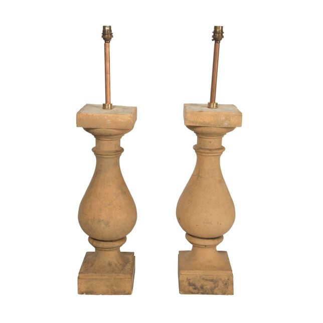 Pair of Terracotta Baluster Lamps LT9057609