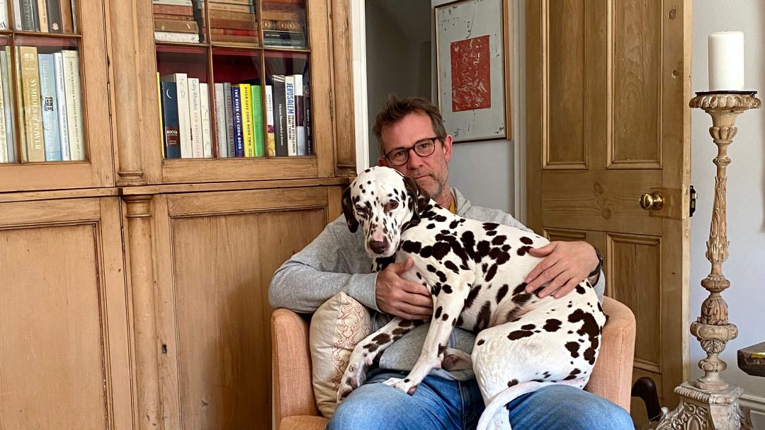 An empty flat, some paint and an antiques shop; Toby Lorford of Lorford sat with his dalmation Florence