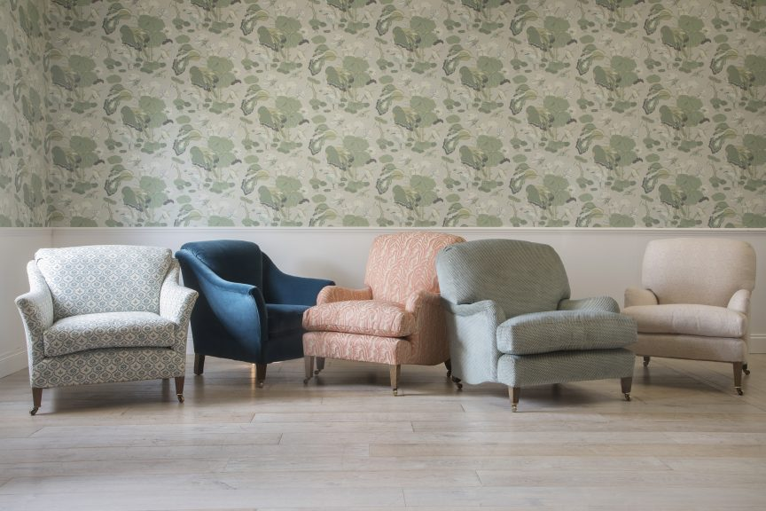 Selection of bespoke armchairs by Lorfords Created, which follow the Howard & Sons upholstery model