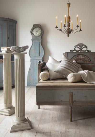 Gustavian furniture, Gustavian bed, Swedish Mora Clock, classical reeded columns, Gustavian corner cabinet