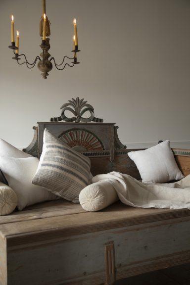 antique candelabra, Gustavian bed
