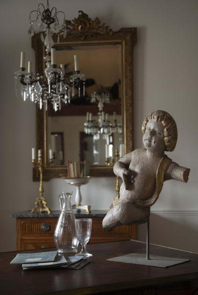 Louis XVI antique gilt mirror, Louis XVI commode, antique chandelier