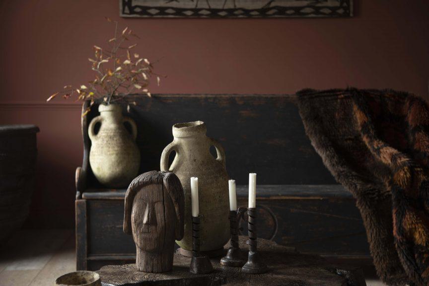 Handcarved furniture, folk art furniture, African jugs, folk art bench