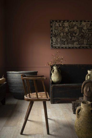 Primitive stick back chair, African block print tapestry, folk art furniture
