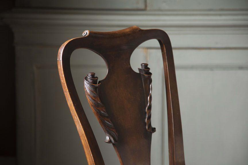 Close up of an antique Georgian chair