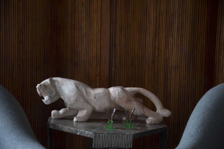 Art Deco marble big cat, Mid Century interiors