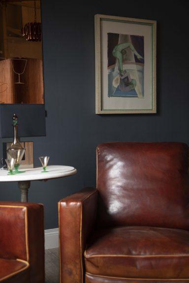 Art Deco club chairs, Mid Century interiors