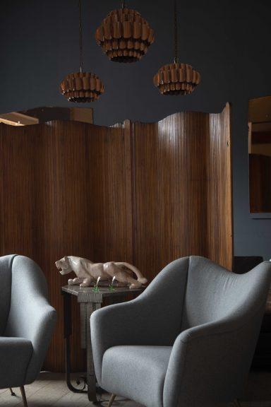 Mid Century pendant lights, vintage folding screen, Mid Century armchairs