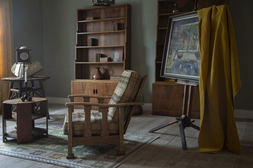 Heals armchairs, Gordon Russell bookcases, Arts & Crafts furniture