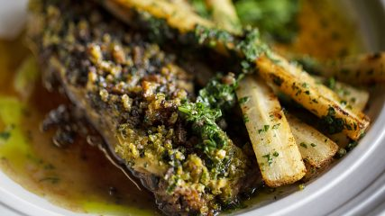 Baked lamb with salsify and green sauce