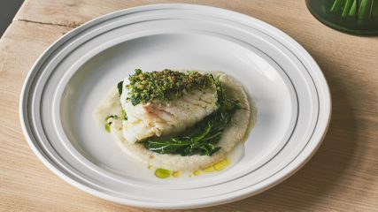Cod with fennel, turnip tops and persillade