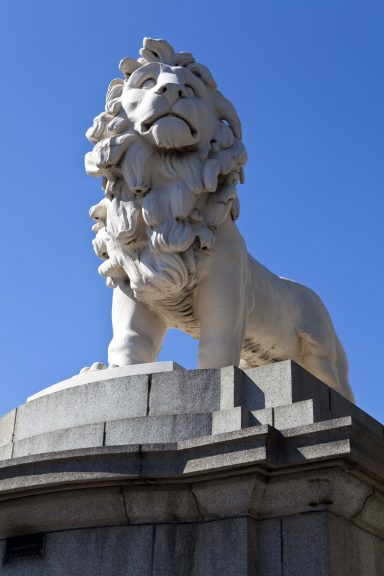 Lion made from Coade stone on Westminster Bridge, London.