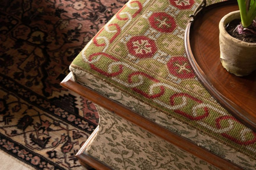 Antique ottoman, English country house, Edwardian tray
