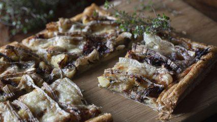 Onion, potato, St James and thyme tart