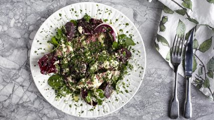 Bavette with beetroot, horseradish and bitter leaves